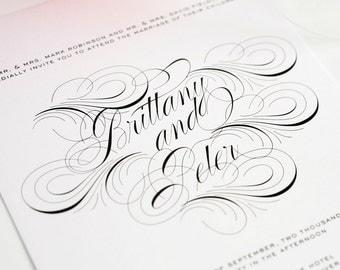 Unique Wedding Invitation, Swirls Wedding Invitation - Luxe Flourish Wedding Invitation - Sample Set