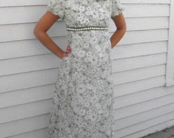 60s Formal Green Daisy Print Dress Hippie Mod Vintage Priscilla of Boston XS Petite XXS