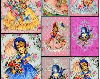 Little Dollies - Retro Children Collage Sheet on Cottage Background -CS R5 - Instant Digital Download- Bonus Sheet My Treat