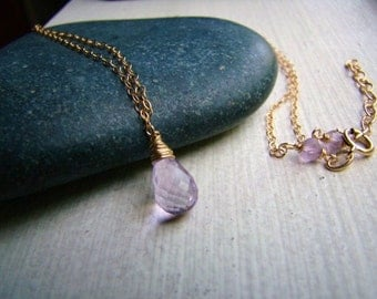 Pink Amethyst Necklace - Natural Gemstone - Gold Jewelry - February Birthstone