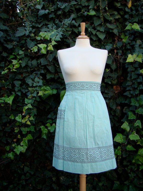 Vintage 50s / Mint Green / Gingham /  Black Cross Stitch / Embroidered / BBQ / Baking / Apron