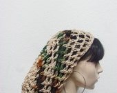 Hand crochet slouchy men / women / crochet snood / summer beanie / hair net / tam / linen woodsy