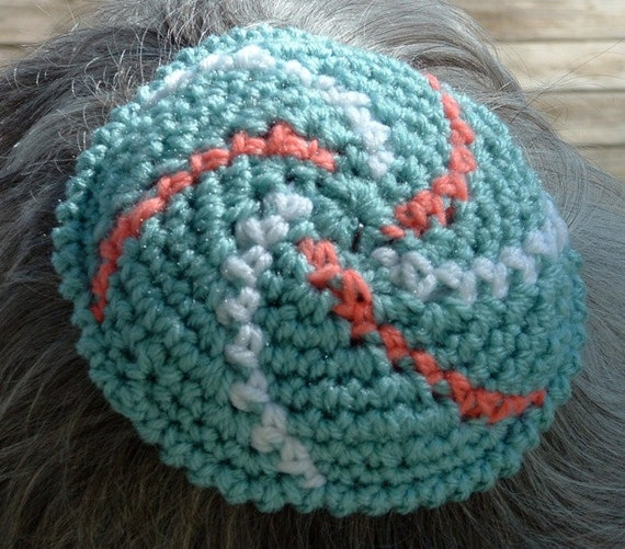 Crochet Patterns For Yarmulke : Handmade Crochet Kippah Yarmulke Aqua Coral by ...