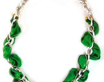 Hand Dyed Emerald Ribbon and Silver Chain