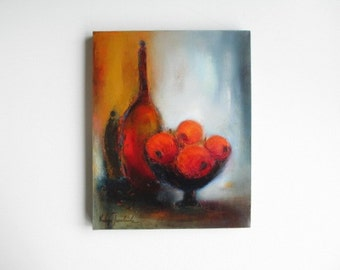 """thanksgiving painting of Red apples Still life oil painting , 16""""x20"""" canvas oil, holidays redecorating, dining room art, housewarming"""