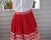 Red Embroidered Ethnic Full Circle Skirt