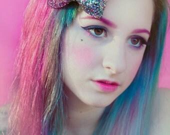 Kaleidoscope Glitter Hair Bow, Sparkly Glitter Bow, Rainbow Hair Bow