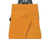 Vegan ORANGE BACKPACK purse, Polka dots spots print in white, Woman Bag - Origami inspired