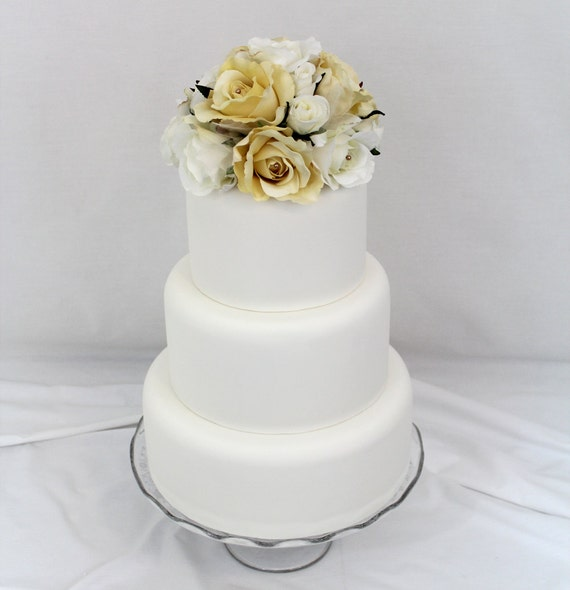 Wedding Cake Topper - White, Ivory Rose
