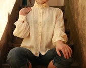 1960s Vintage Pure Italian Silk Mandarin Collar Exquisite Ivory Butterfly Pattern Long Sleeved Blouse-Shirt