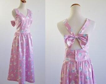 Vintage Sundress, Cut Out Dress, Cross Back Vintage Dress, Pink Floral Dress, Full Skirt Dress, Lanz Dress, Criss Cross Back Dress, Medium