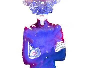 Fashion Illustration, Fashion Watercolour, Fashion Print, Fashion Wall Art, Fashion Couture, Paris Vogue, Masquerade mask, Cate Parr