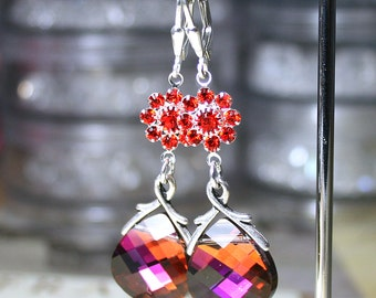 ON SALE - Swarovski Crystal Earrings in Volcano - OOAK - Briolettes and Blooms in Orange and Pink - Sterling Silver Leverbacks
