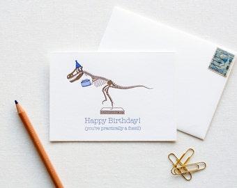 Letterpress Dinosaur Fossil Birthday Box of 6 Cards