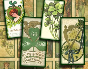 "Vintage St Patrick's Day Images Digital Collage Sheet- .75"" x 1.5"" Bamboo Tile-- Instant Download"
