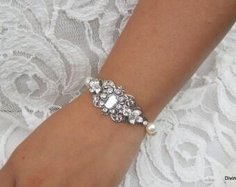 ivory swarovski pearl and crystal Bracelet Statement Bridal Bracelet Bridal Cuff Wedding Rhinestone Bracelet swarovski crystal JOYCE