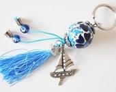 Ship Key Chain Handmade Evil Eye and Turkish Ceramic Silver Plated
