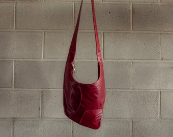 Oxblood red cross body leather bag - burgundy purse  - the Factor bag