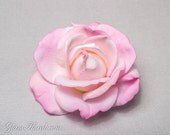 Light Pink Rose Hair Clip/ Brooch, Real Touch Rose Fascinator for bridesmaids, baby pink, princess pink, fresh realistic look
