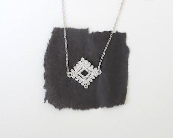 Lace Diamond Silver Pendant