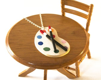 Artist's Palette Necklace, Paint Palette Jewellery, Gift for Artist