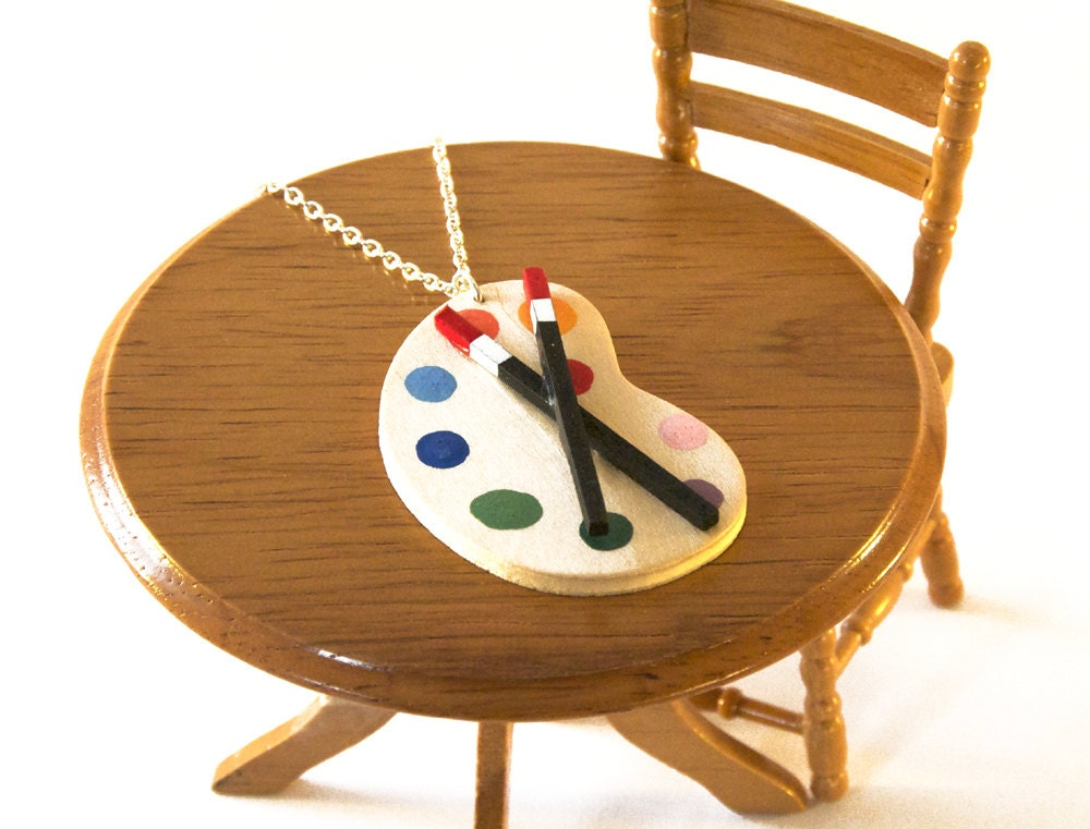 Artist's Palette Necklace - Paint Palette Jewellery - Gift for Artist