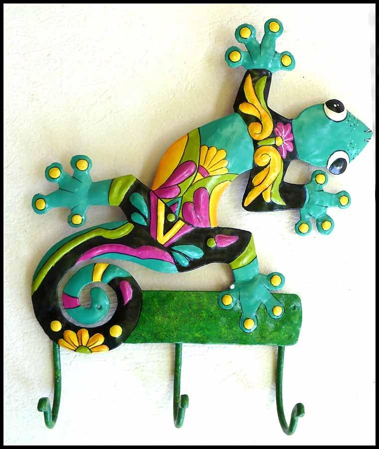 Gecko Hand Painted Metal Wall Hook Metal Art Tropical Home