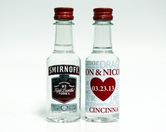 Love Custom Mini Liquor Bottle Labels Wedding Favors Smirnoff Vodka Captain Morgan Rum Southern Comfort Whiskey Reception Party Favor