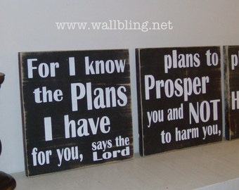Jeremiah For I Know the Plans I Have - 3 Wood Signs