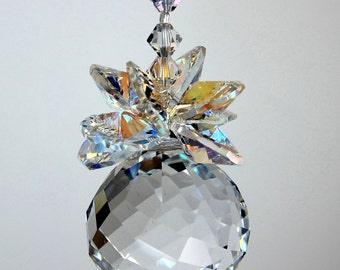 30mm MOZART TWIST Ball Pineapple Sun Catcher Ornament with AB Leaves m/w Swarovski® crystal, Pearl Place N More