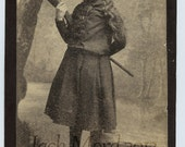 Rare Cabinet Card / Little Cowgirl Trick Shot with Rifle