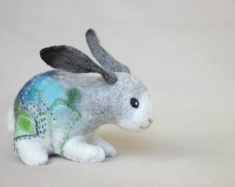 Bunny Robert. Art Toy. Handmade Felted Hare Stuffed Nursery decor Stuffed plush animal Easter  gift for kids children room decoration.