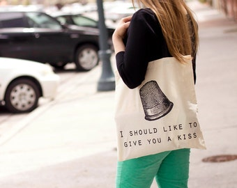 Peter Pan Thimble Kiss - Canvas Tote Bag (Black or Natural)