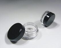 50 Sample Cosmetic Jars Empty Lip Balm Pot  - 3 Gram (Black Cap) 5030-50 | FREE US Shipping