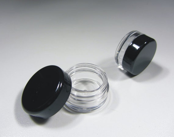 50 Sample Cosmetic Jars Empty Beauty Lip Balm Pot Containers - 3 Gram (Black Cap) 5030-50 | FREE US Shipping