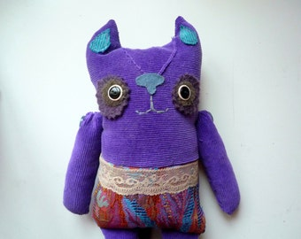 Margo the Purple Cat , soft art creature, toy by Wassupbrothers.Ready to ship