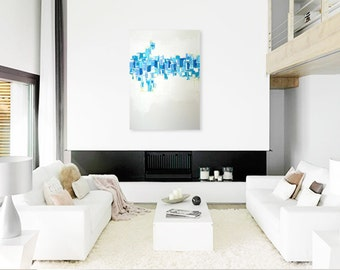 "SALE - Abstract Acrylic Painting Original Fine Art 30""x40"" by Linnea Heide - blue white - contemporary - geometric"