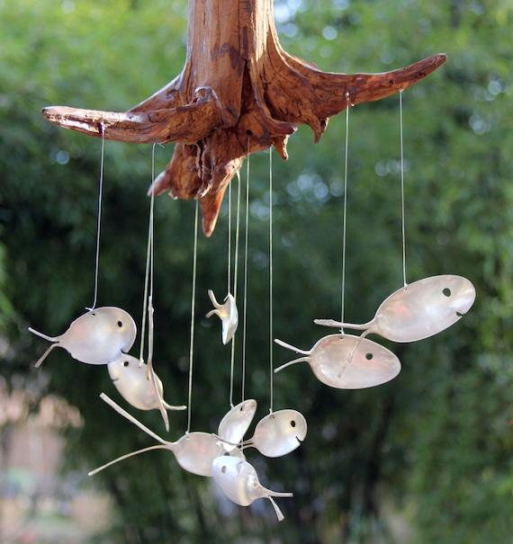 Spoon fish drift wood wind chimes 10 fish windchime stump for Fish wind chimes