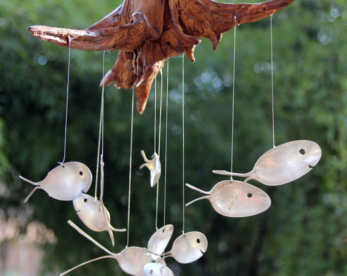 Spoon Fish & Drift Wood Wind Chimes, 10 Fish Windchime Stump, Spoon Fish, Flatware, Fish Decoration, Spring Decoration, Garden Art, Fishing