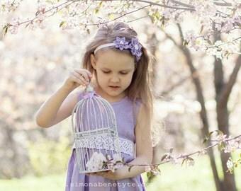 Lavender flower girl headband - Girl headband - Lilac kanzashi headband - Lavender girl hair piece - Infant headband - Baby girl headbands