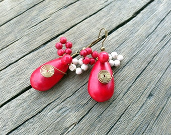 Tear drop Red Gemstone Dangle Earrings, Colorful Chunky Earrings, Boho Earrings, Handmade Modern Fashion Jewelry, Earrings Gift for Her