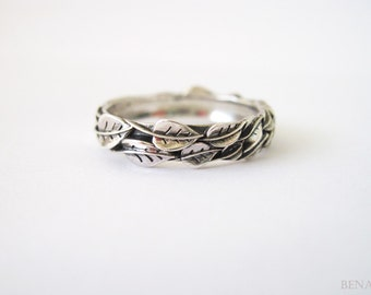 Silver Leaf Ring, Silver Leaves Ring, Leaves Friendship Ring, Natural Leaf Ring, Forest Ring, Nature Promise Ring, Leaves Silver Ring
