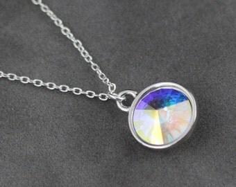 Opal Necklace, October Birthstone Necklace, Aurora Boralis Opal Jewelry, October Birthstone Necklace