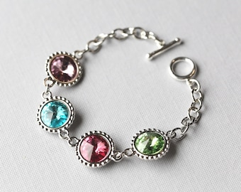 Personalized Grandmother Jewelry, New Mom Gift, Personalized Birthstone Bracelet, Mother's Day Gift