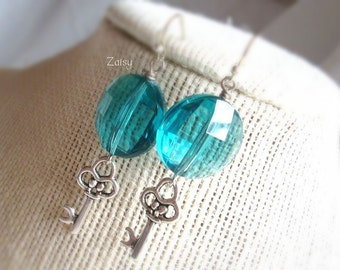 Teal Key Earrings