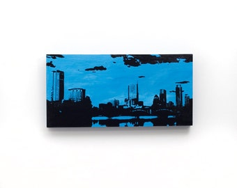 Austin Skyline Wall Art on Wood (12 x 6 inches, Blue with Black) Cityscape Screen Print & Painting Home Decor