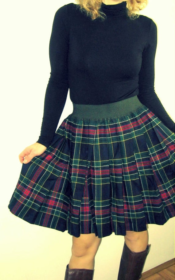 SALE tartan pleated betty barclay wool skirt