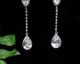 Cubic Zirconia Wedding Earrings, Bridal Earrings, Long Earrings, Crystal Earrings, Bride earrings, Bridal Jewelry, Long Drop Earrings, CZ