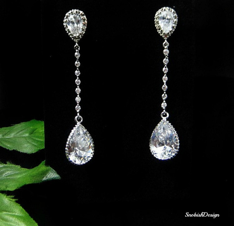 cubic zirconia wedding earrings bridal earrings