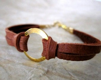 Ring Bracelet - Rust Brown and Gold